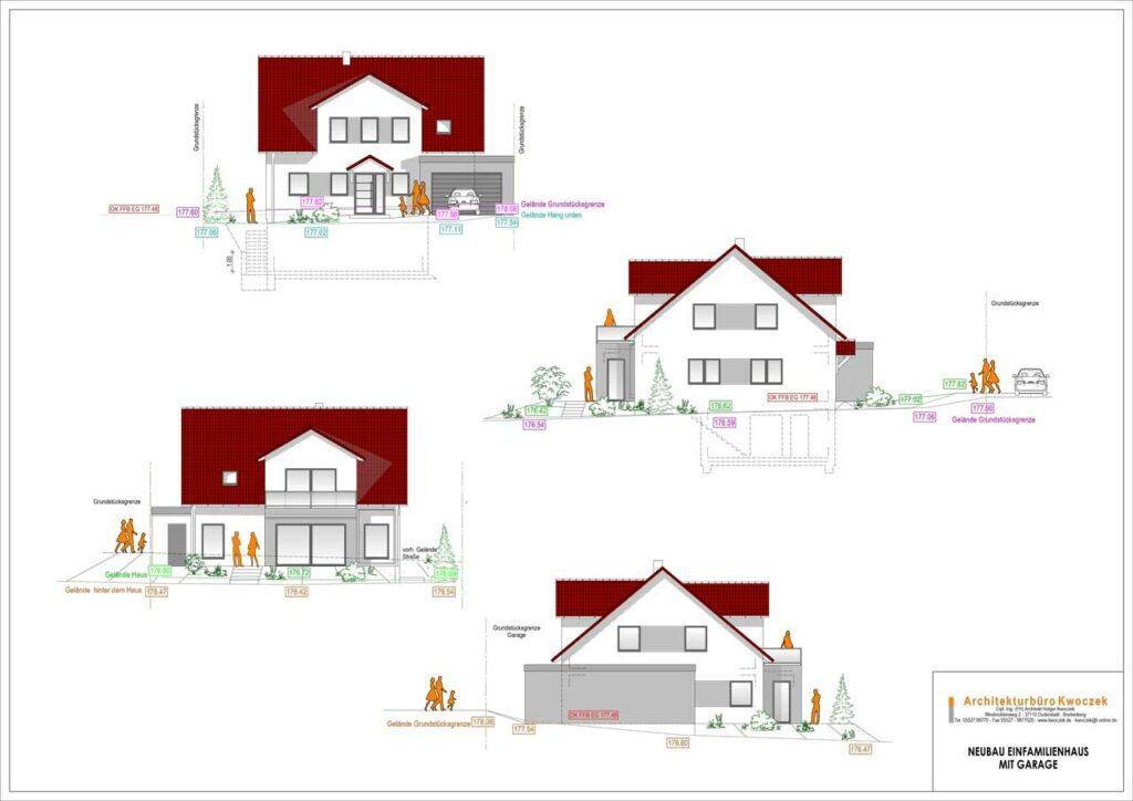 Planstudien-Zeichnungsdarstellung